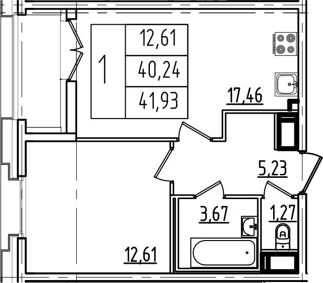 2Е-к.кв, 41.93 м², 10 этаж