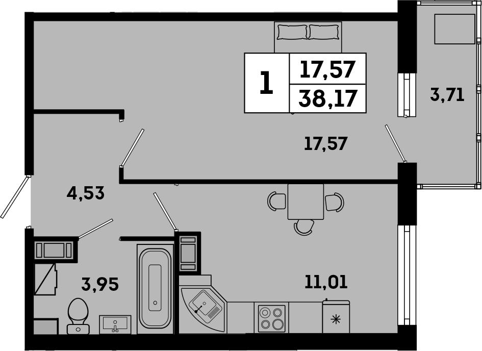 1-комнатная, 38.17 м²– 2