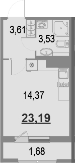 Студия, 23.19 м²