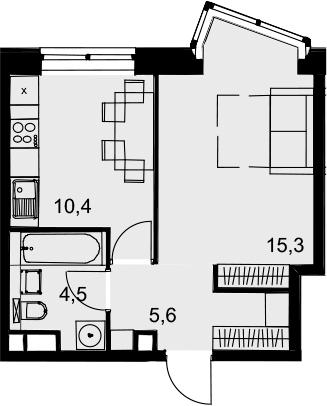 1-комнатная квартира, 35.8 м², 5 этаж – Планировка
