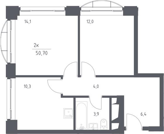 2-к.кв, 50.7 м², 7 этаж