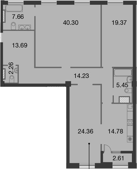 3-комнатная, 143.41 м²– 2
