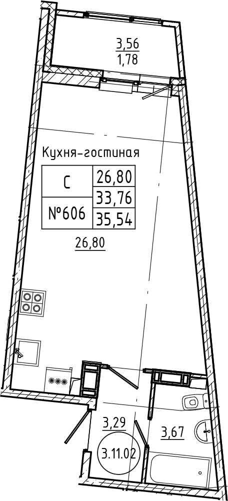 Студия, 35.54 м²– 2