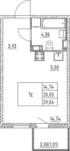 Студия, 29.04 м²– 2