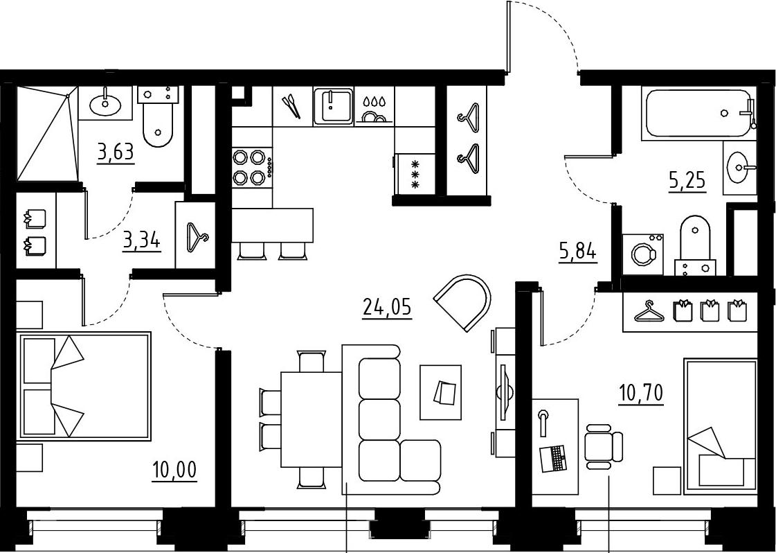 3Е-комнатная, 62.81 м²– 2