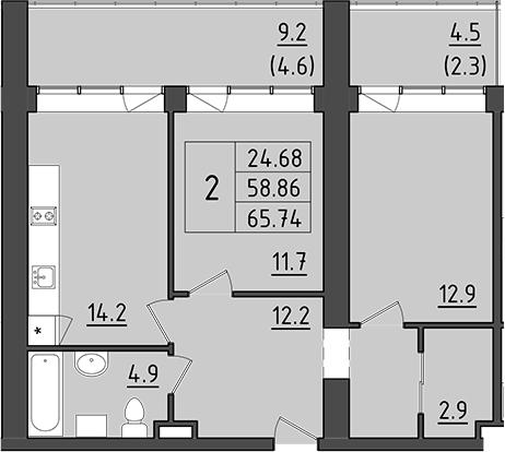 2-к.кв, 72.26 м²
