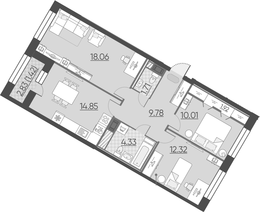 3-к.кв, 74.4 м², 9 этаж