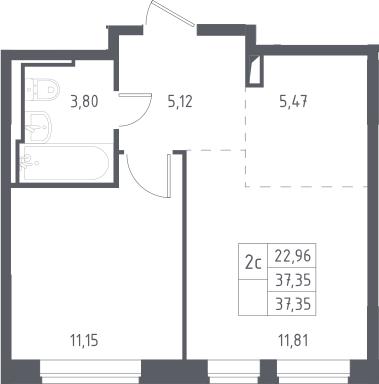 2Е-к.кв, 37.35 м², 12 этаж