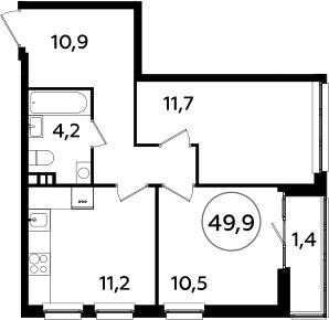 2-к.кв, 49.9 м²