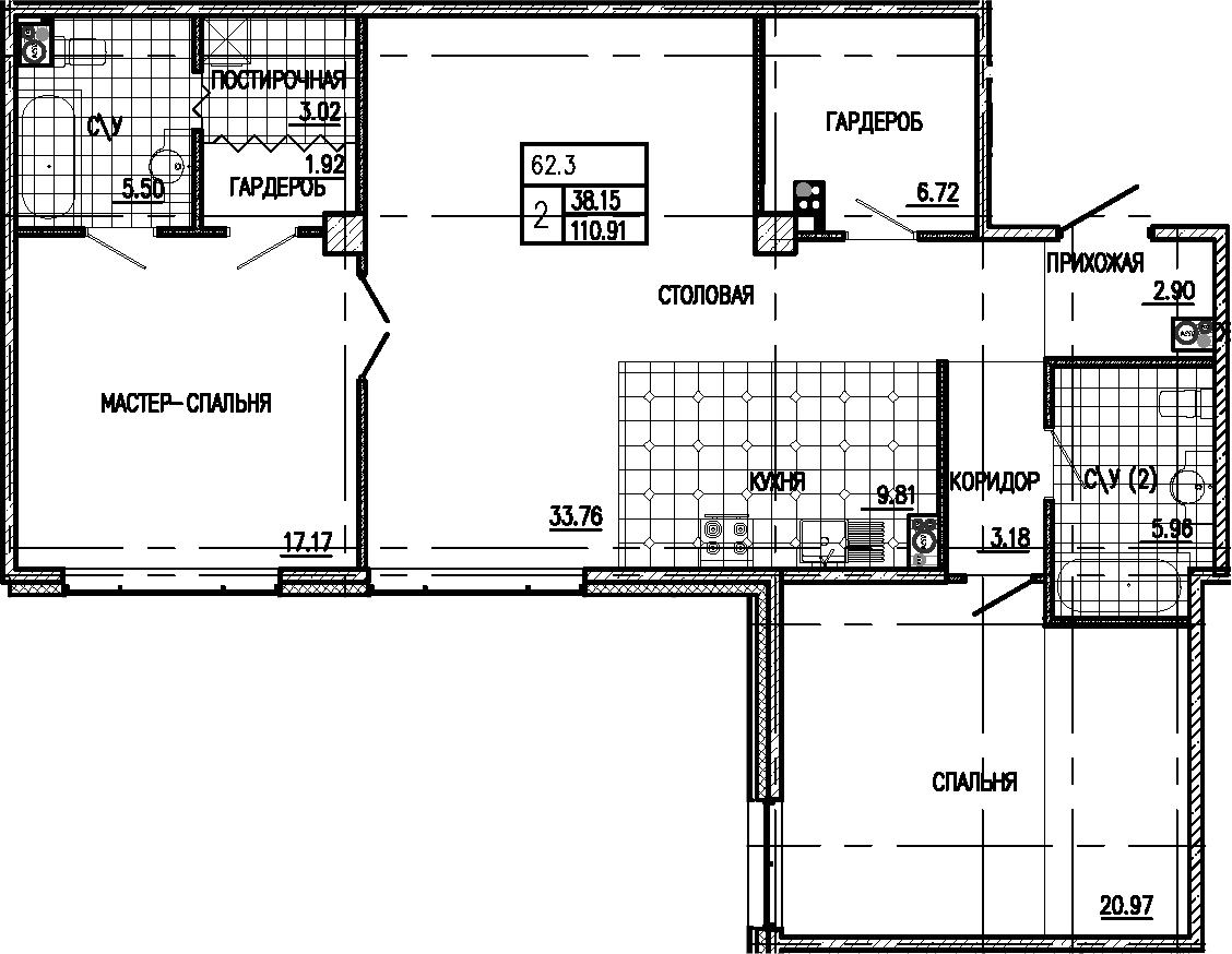 3Е-к.кв, 110.91 м²