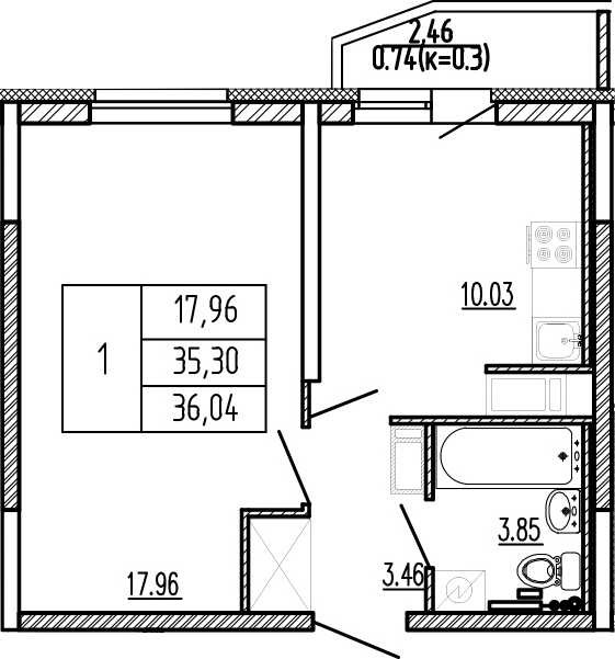 1-комнатная, 36.04 м²– 2