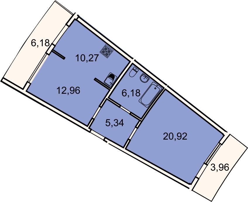 2-к.кв, 58.7 м², 3 этаж