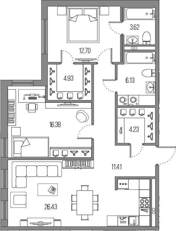 3-к.кв (евро), 85.83 м²