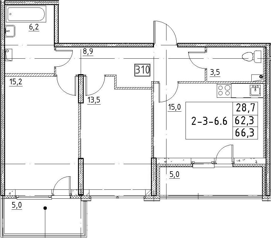 3-к.кв (евро), 72.3 м²