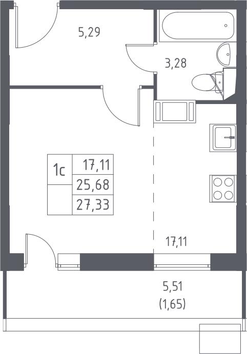Студия, 27.33 м², 13 этаж – Планировка