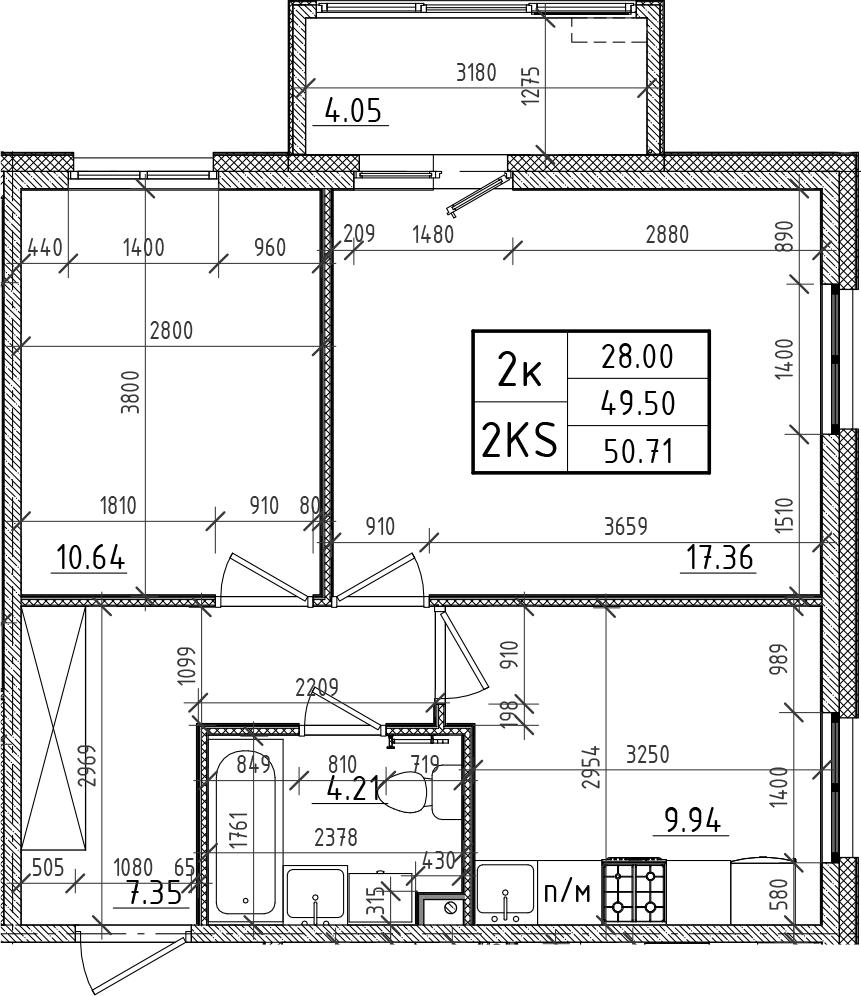 2-к.кв, 49.5 м²
