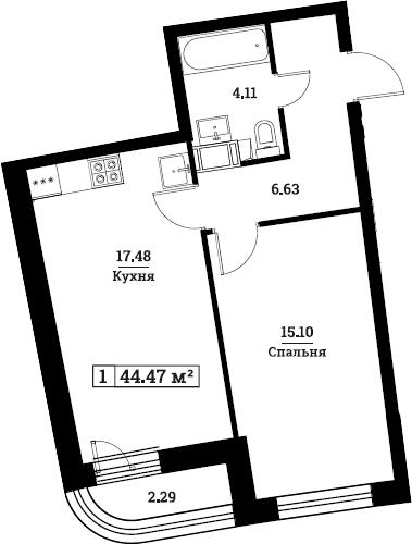 2Е-комнатная, 44.47 м²– 2