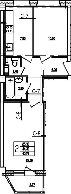 2-к.кв, 47.27 м²