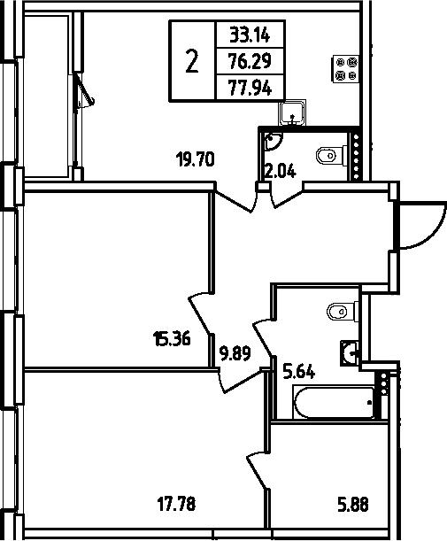 3-к.кв (евро), 79.59 м²