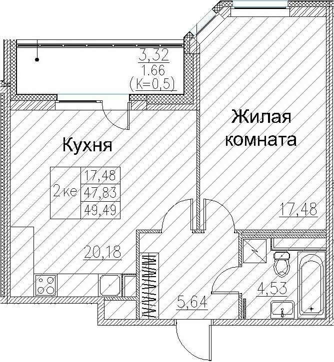 2Е-к.кв, 49.49 м²