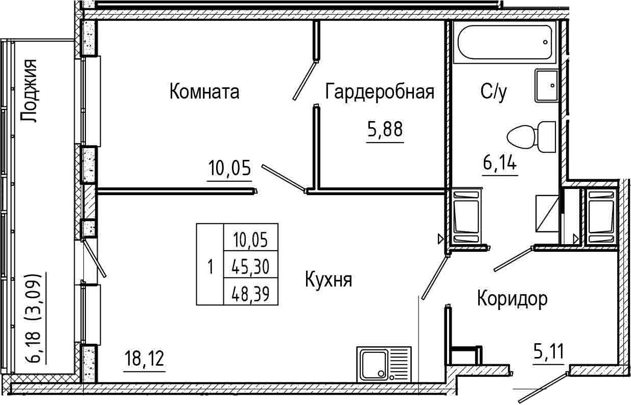 2Е-к.кв, 48.39 м², 18 этаж
