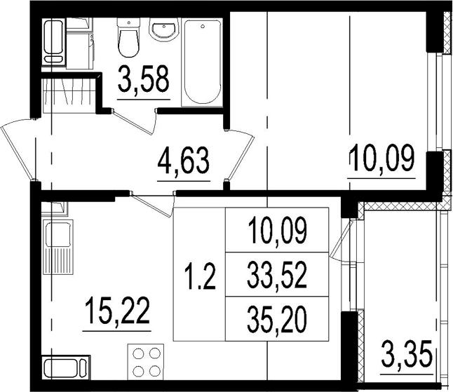 2Е-к.кв, 33.52 м², от 4 этажа