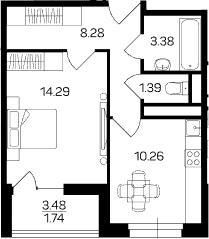 1-к.кв, 41.08 м²
