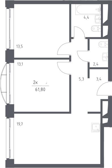 3Е-к.кв, 61.8 м², 18 этаж