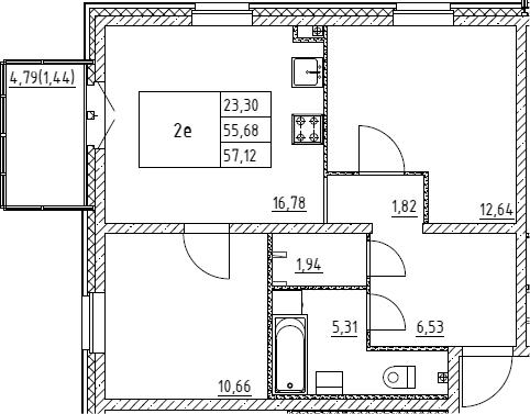 3Е-к.кв, 57.12 м², 1 этаж