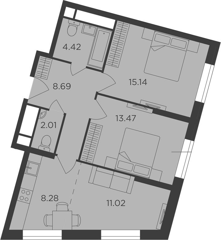 3Е-комнатная, 63.03 м²– 2