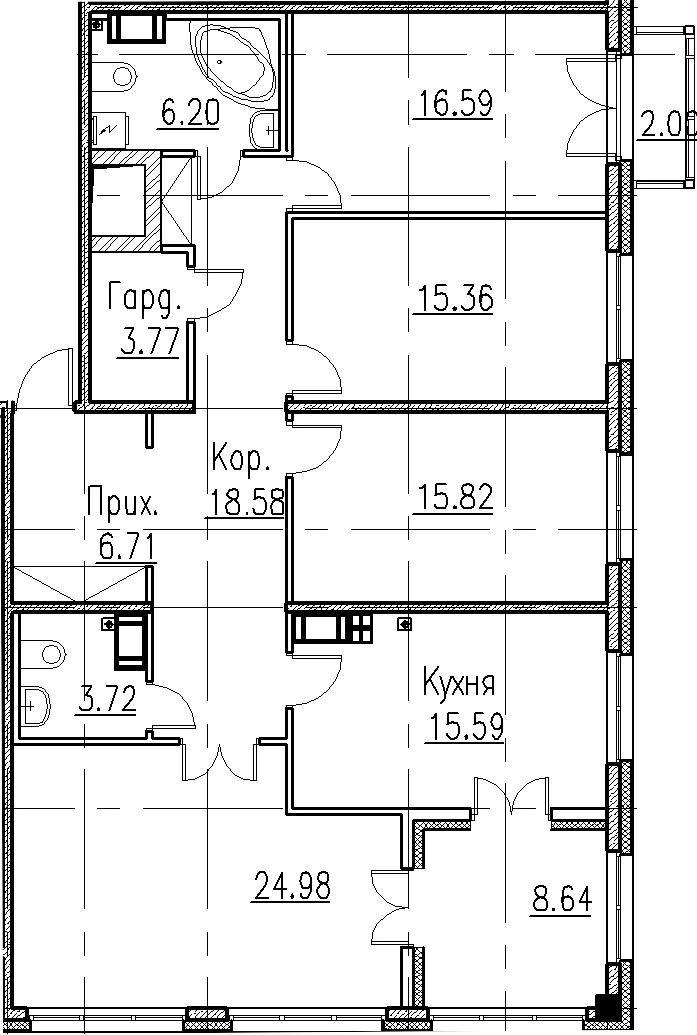 5Е-комнатная, 127.32 м²– 2