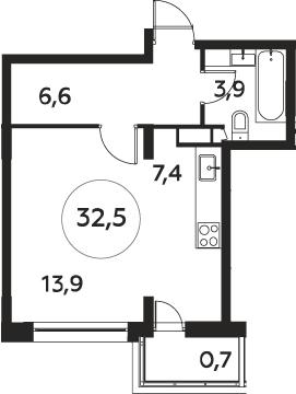 Студия, 32.5 м²