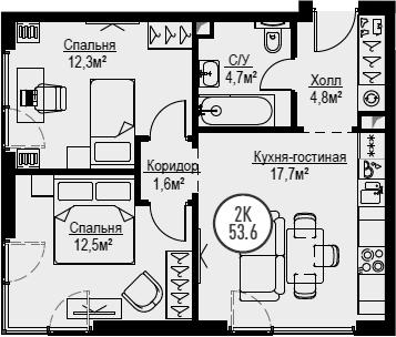 3Е-к.кв, 53.6 м², 15 этаж