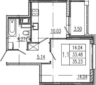 1-комнатная, 33.48 м²– 2