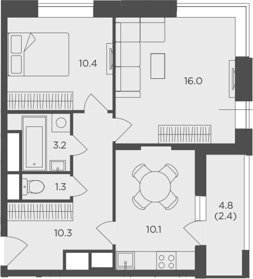 2-к.кв, 53.61 м²