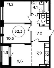 3Е-комнатная, 52.3 м²– 2