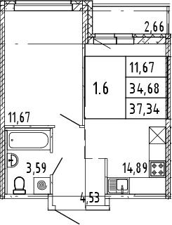 2Е-комнатная квартира, 36.01 м², 8 этаж – Планировка