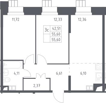 3Е-комнатная, 55.6 м²– 2