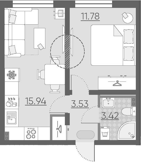 2Е-комнатная, 34.67 м²– 2