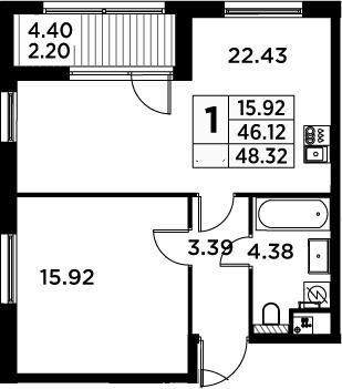 2Е-комнатная, 48.32 м²– 2