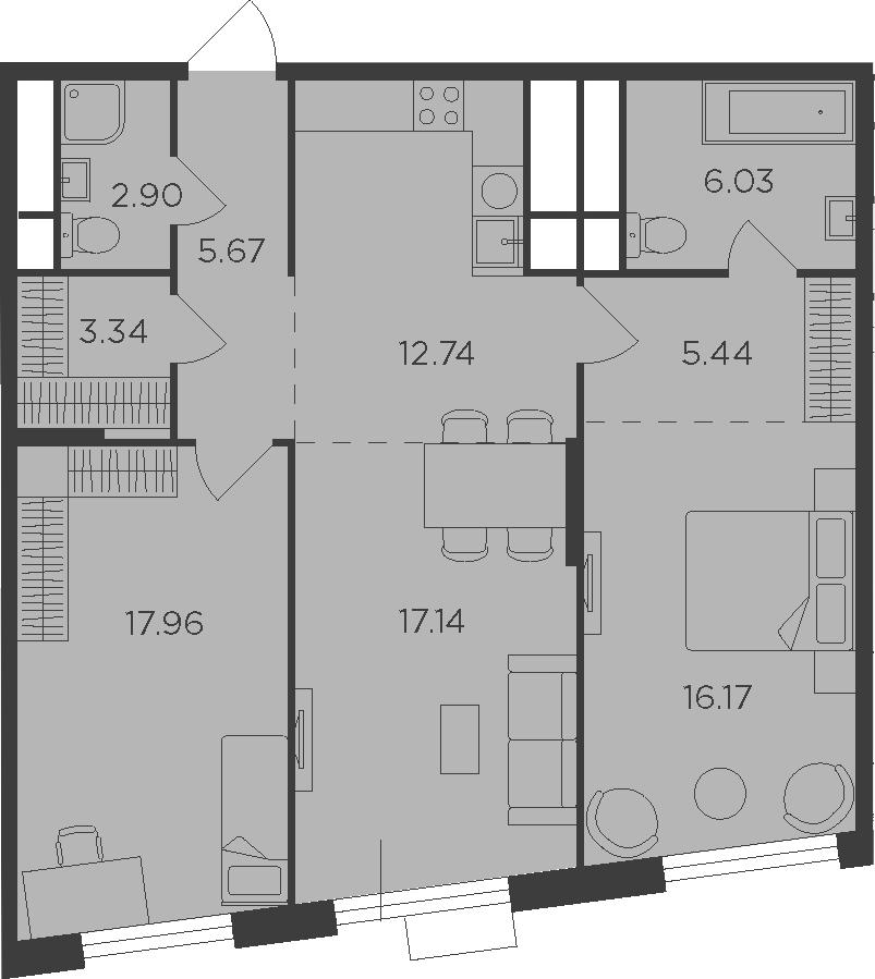 3Е-комнатная, 87.39 м²– 2