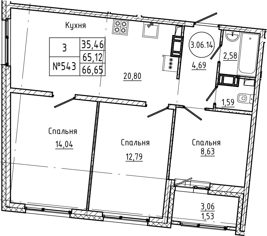 4Е-к.кв, 66.65 м², 6 этаж