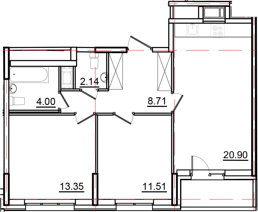 3Е-к.кв, 62.43 м², 14 этаж