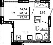 Студия, 22.1 м², от 9 этажа