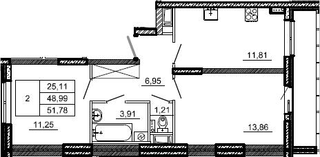 2-к.кв, 51.78 м²