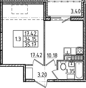 1-к.кв, 34.15 м², 5 этаж