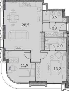3Е-комнатная, 65.8 м²– 2