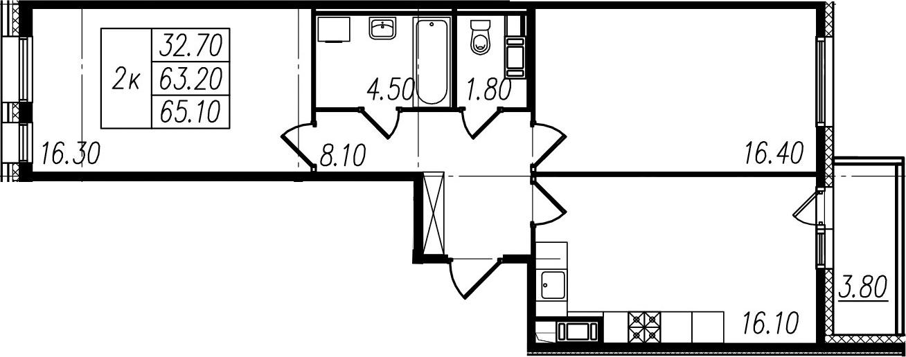 2-комнатная, 63.2 м²– 2
