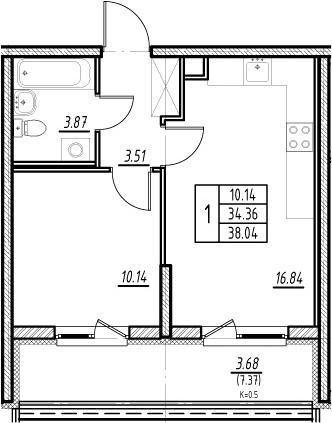 2Е-к.кв, 34.36 м²