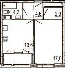 1-к.кв, 44.3 м², 9 этаж